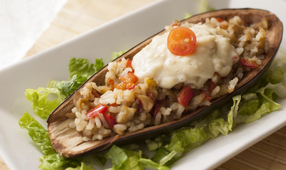 Berenjenas rellenas de arroz mis recetas veganas for Cocina berenjenas rellenas