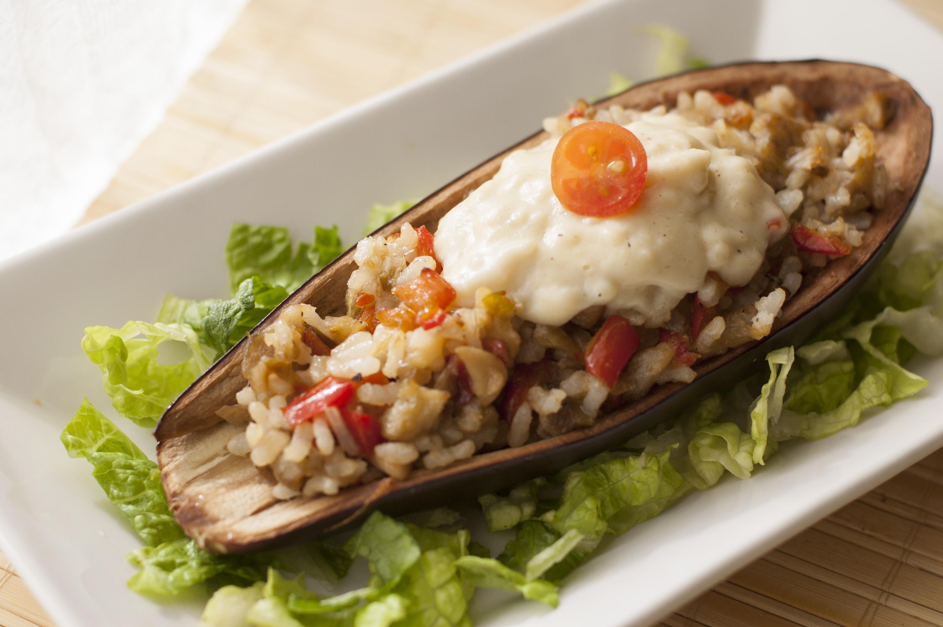 Berenjenas rellenas de arroz Mis recetas veganas
