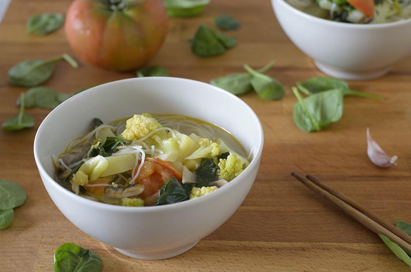 Sopa de fideos de arroz con verduras - Comodas orientales ...