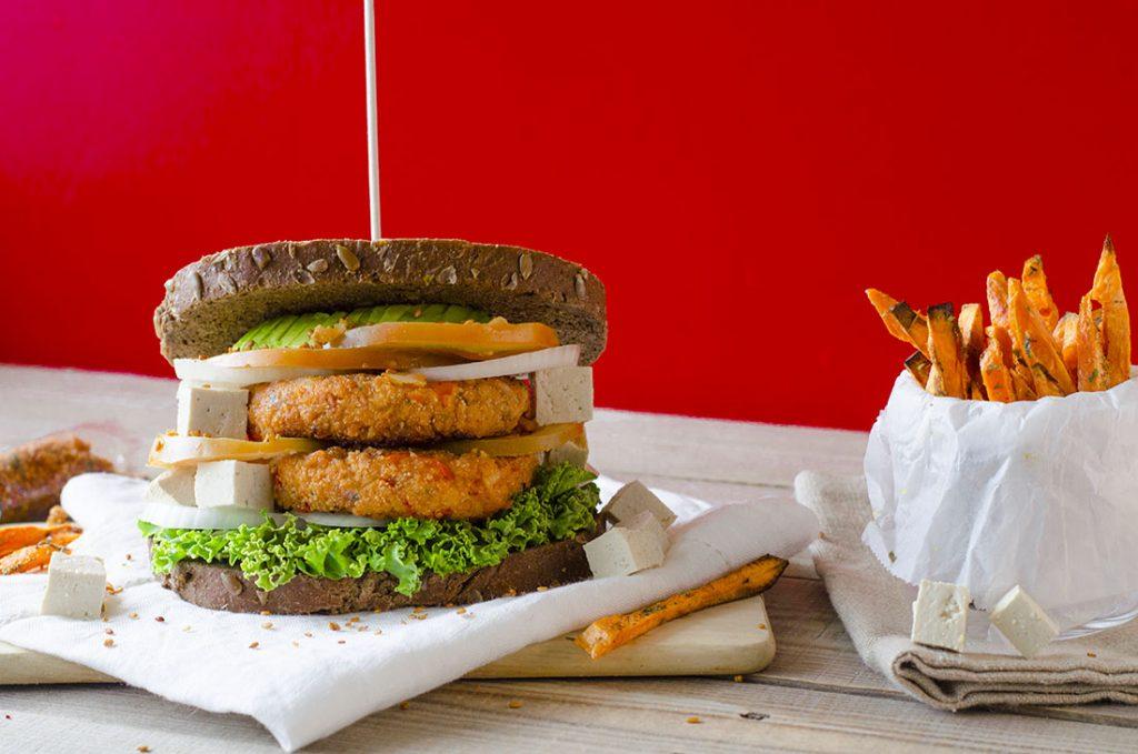 Hamburguesas veganas de Soja texturizada y pimiento