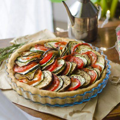 Tarta salada y vegana de Ratatouille