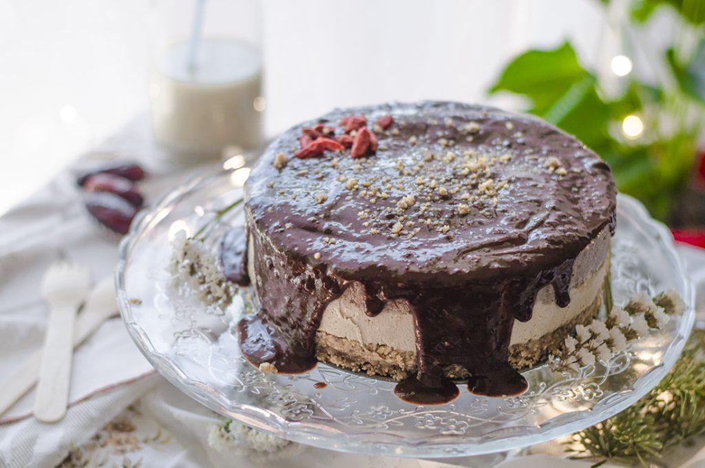 Tarta helada vegana de vainilla y cacao