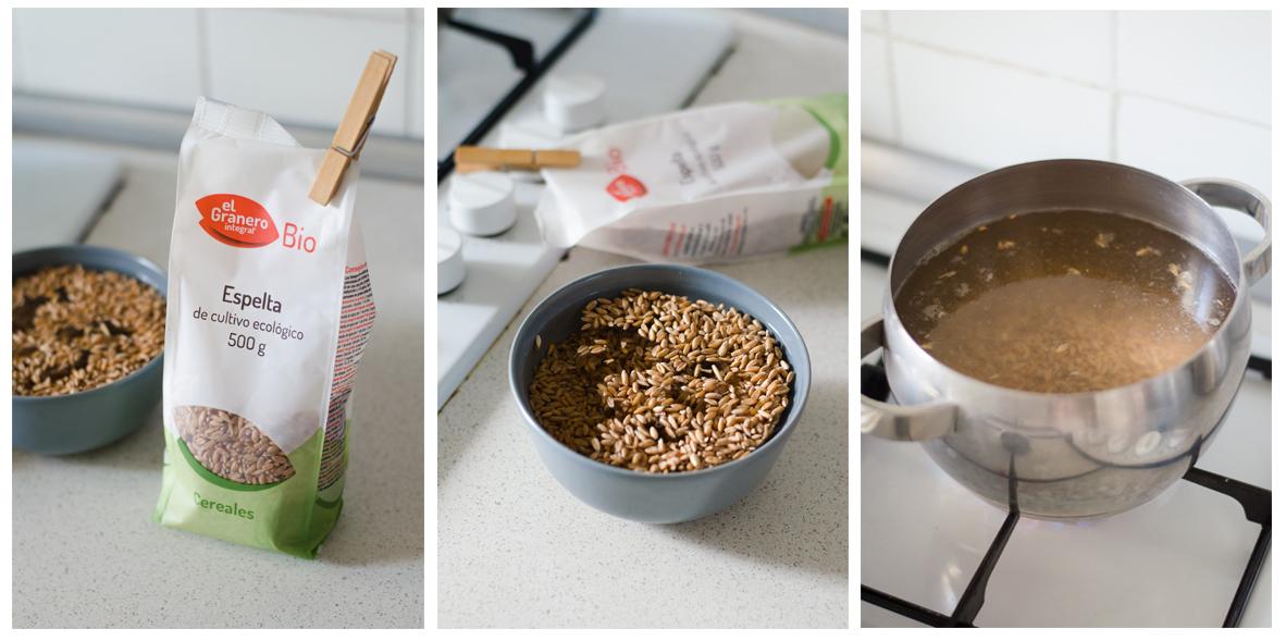 Remojamos la Espelta durante 2 horas, luego la coceremos.