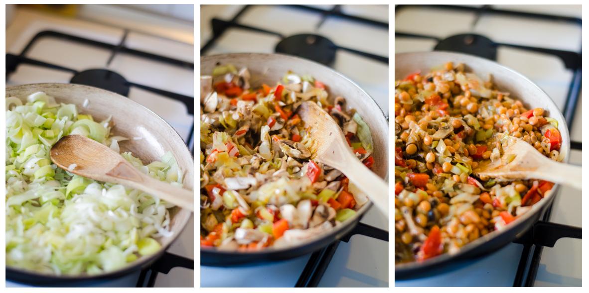 Sofreímos las verduras y añadimos las lentejas y la Espelta cocida.