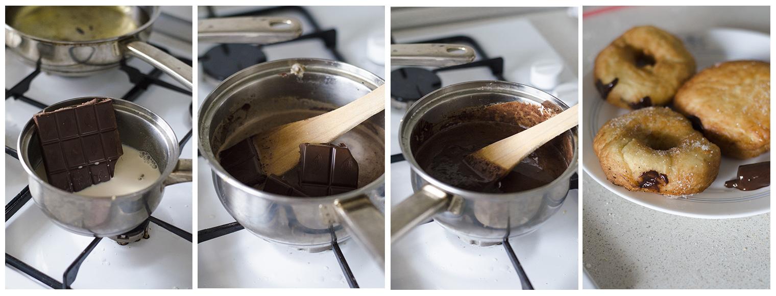 Receta para preparar Donuts veganos y caseros rellenos de chocolate negro. Sin huevo y sin leche.