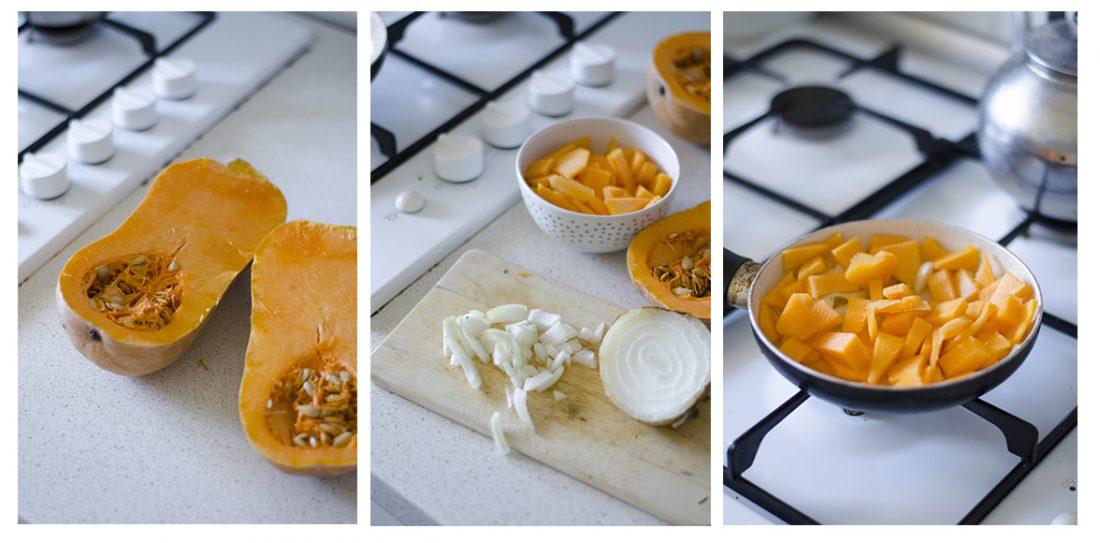 Para la tortilla de calabaza usaremos simplemente calabaza y cebolla.