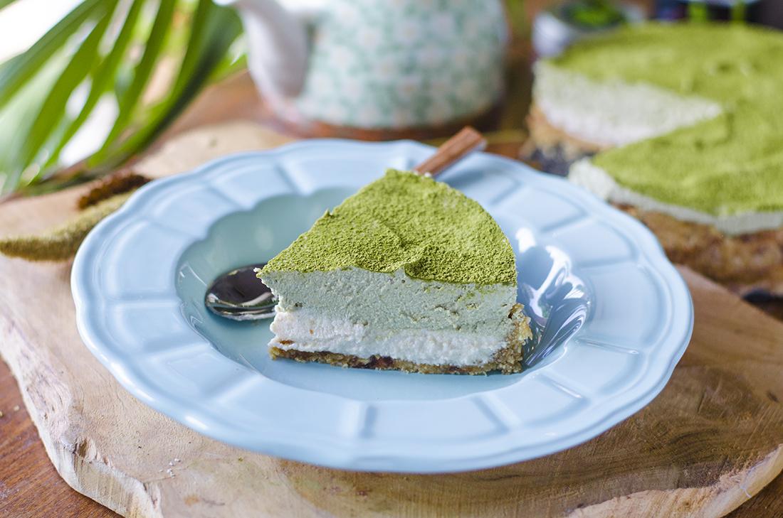 Tarta sin horno: Cheesecake vegano de Té Matcha Orgánico.