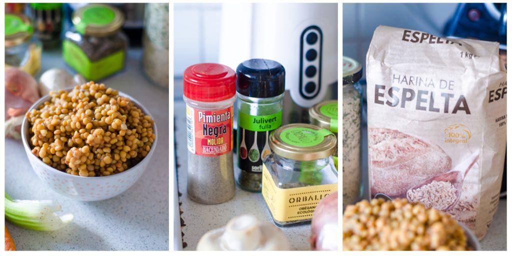 Albóndigas veganas de lentejas: Ingredientes principales.