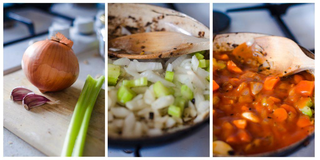 Para la salsa que acompañará nuestras albóndigas, picaremos los vegetales y los sofreiremos. Después añadimos el tomate.