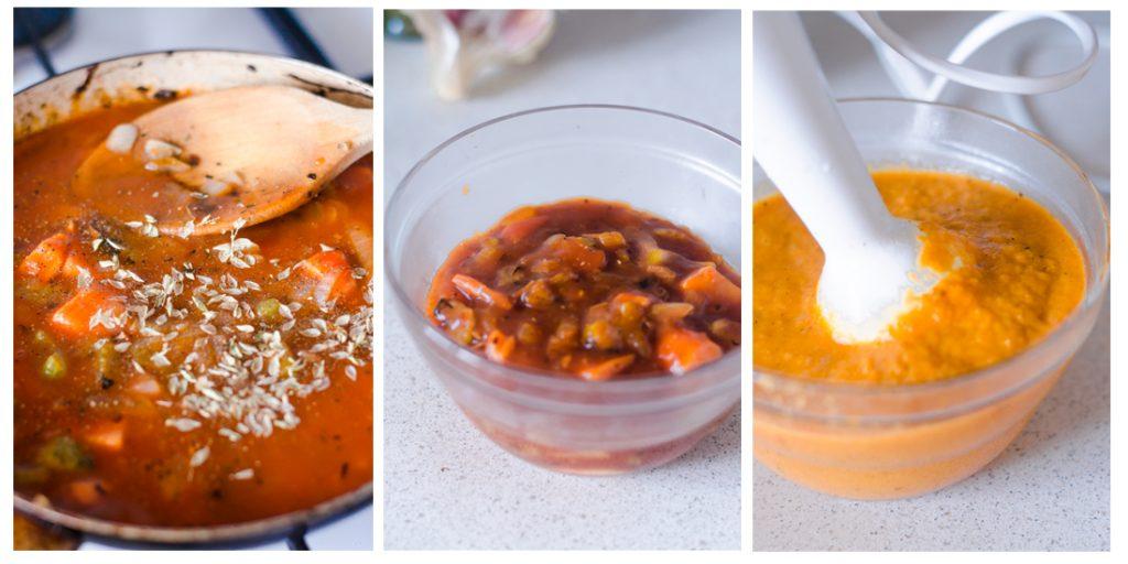 Especiamos y trituramos la salsa de las Albóndigas veganas.