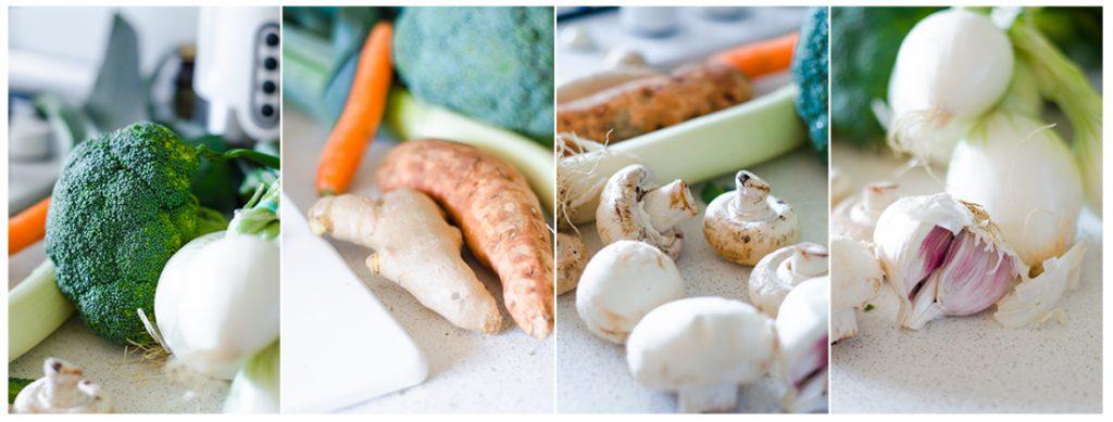Ingredientes que necesitaremos para nuestra Sopa de Coco con brócoli, champiñones y otras verduras.