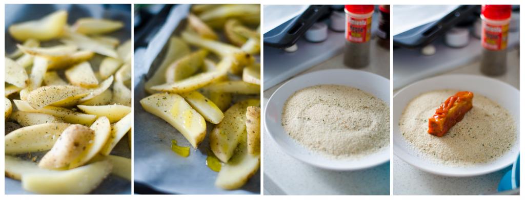 Mientras maceran los Fingers Veganos, preparamos las patatas especiadas.