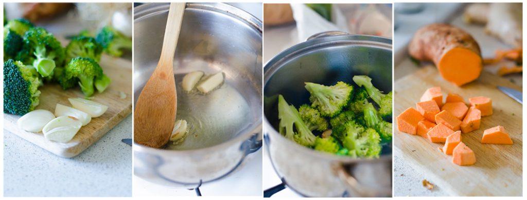 Pelamos y doramos el ajo junto con los trocitos de brócoli.
