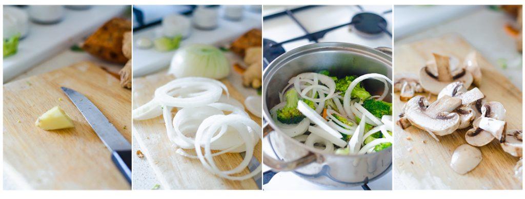 Crotamos el trozo de jengibre, la cebolla fresca y los champiñones. Lo echamos en la olla y lo sofreímos.