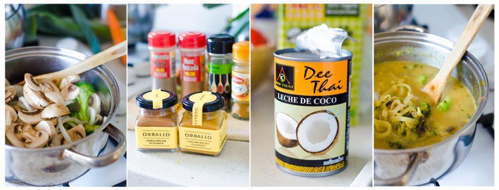 Con los vegetales ya dorados, añadimos el caldo, las especias y la leche de coco.
