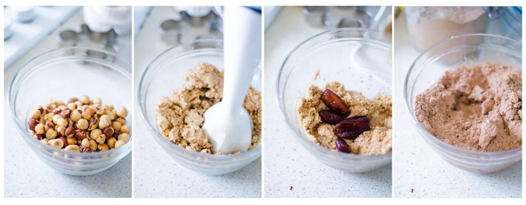 Para preparar la Nutella Vegana casera, trituramos las avellanas, los dátiles y el cacao.