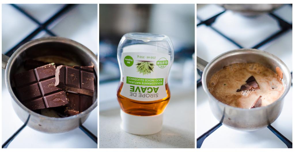 Fundimos el chocolate para crear la base de nuestro Turrón casero.