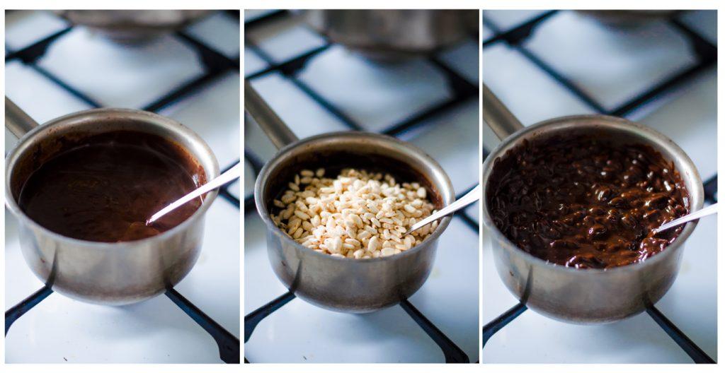 Con el chocolate ya fundido, añadimos el arroz hinchado y las avellanas.