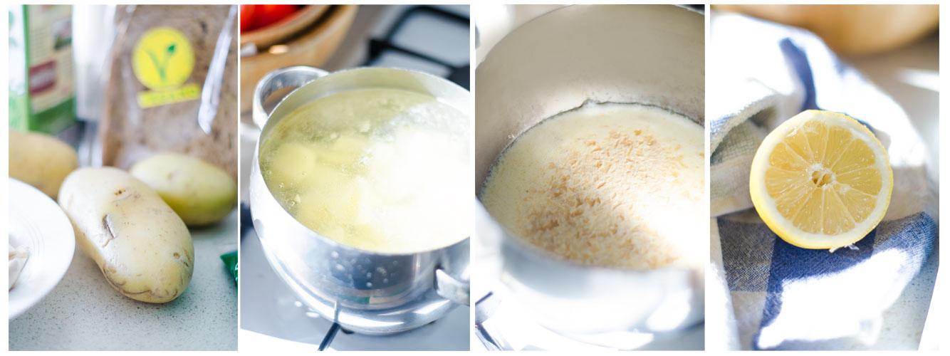 Por otro lado, ponemos a cocer la patata. Después, en la otra olla, añadimos la levadura nutricional.