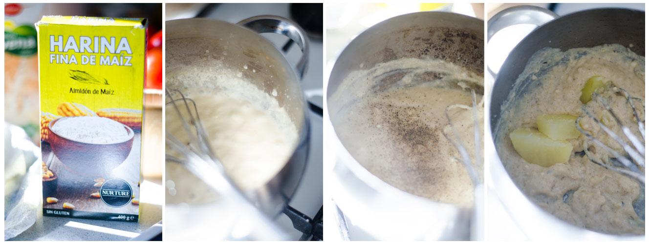 Añadimos el almidón de maíz para que la salsa empiece a tornarse cremosa.