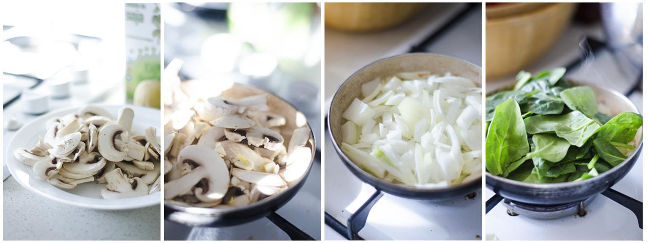 Salteamos los champiñones y las espinacas para el relleno.
