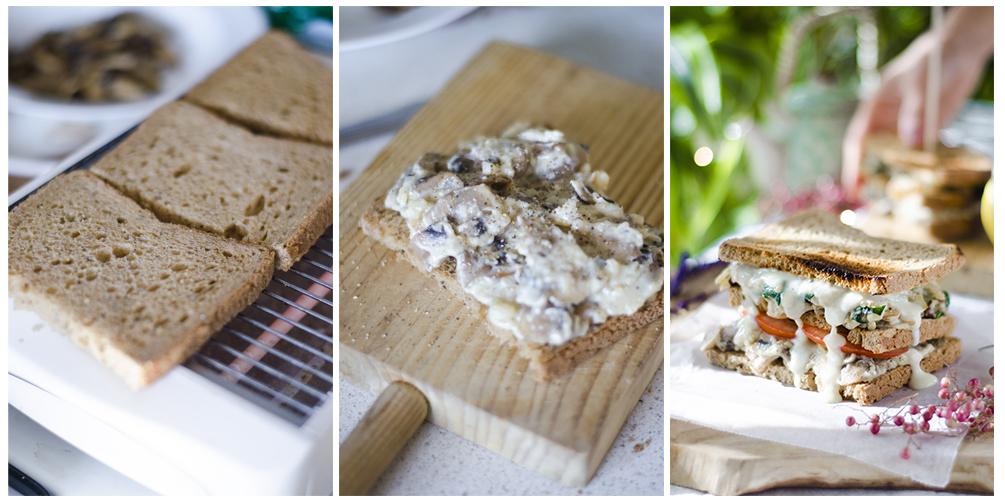 Tostamos el pan y montamos nuestro sándwich vegano doble.