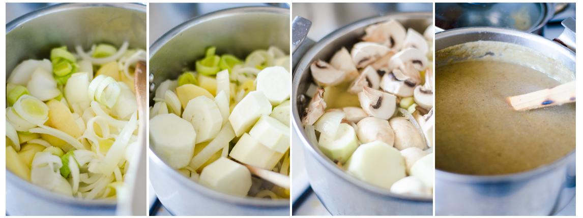 Cuando las verduras de la crema estén ligeramente doradas, añadimos el agua y cocemos.