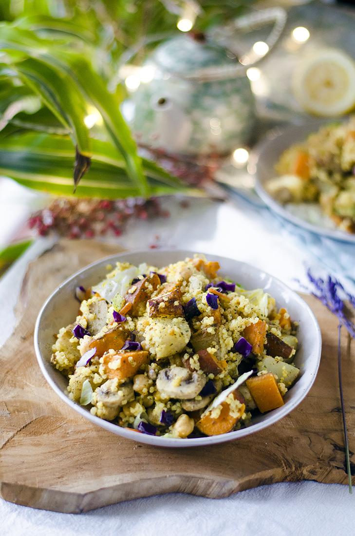 Receta: Ensalada vegana de Mijo con boniato y patata.