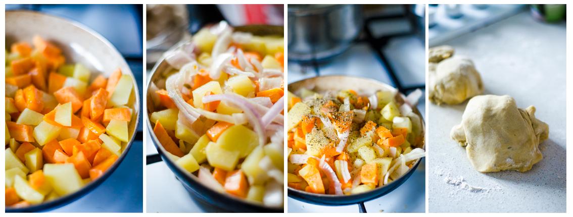 Para rellenar la napolitana sofreiremos las verduras mientras dejamos levar la masa.
