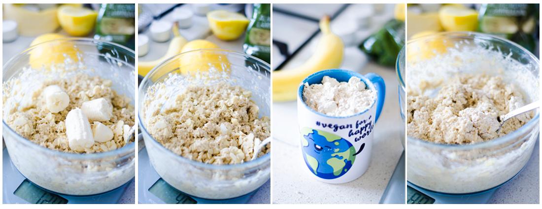 Lo mezclamos con harina de avena para darle una mayor consistencia.