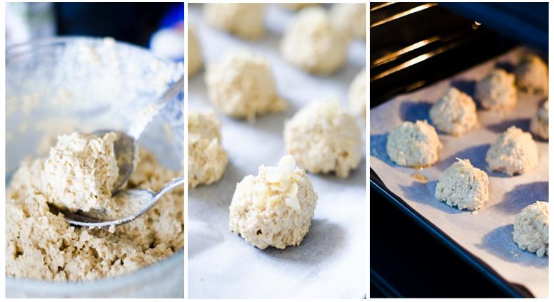 Le damos forma redondeada a cada galleta de avena y las horneamos.