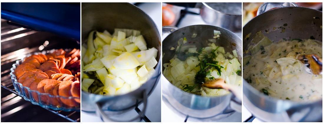 Prepararemos la salsa mientras el Ratatouille de boniato se hornea.