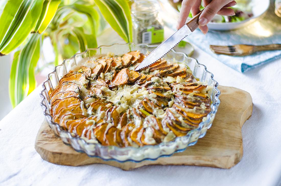 Ratatouille de Boniato. Una receta vegetariana/vegana fácil, rápida y deliciosa.