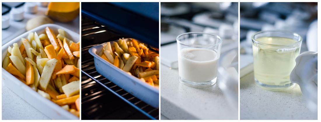 Horneamos las patatas y, mientras, preparamos la salsa mayonesa de ajo sin huevo.