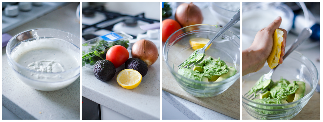 Preparamos la salsa guacamole con aguacate, limón, cebolla y tomate.