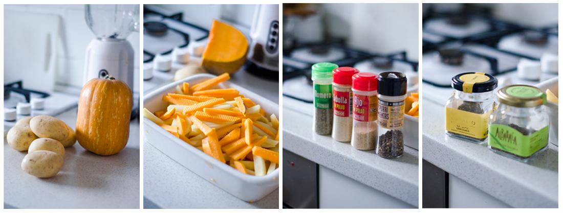 Pelamos y cortamos las patatas y la calabaza, después las especiamos.