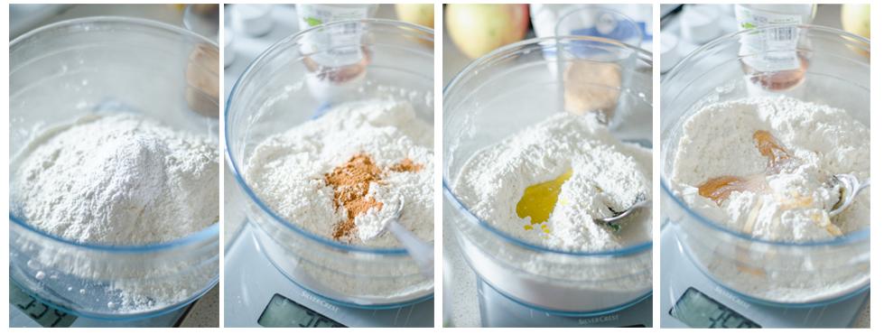 Para la masa de la Tarta Crumble de manzana mezclamos la harina con levadura, saborizantes y grasa vegetal.