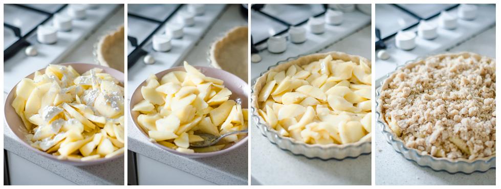Rellenamos el crumble con la manzana y ponemos el topping.
