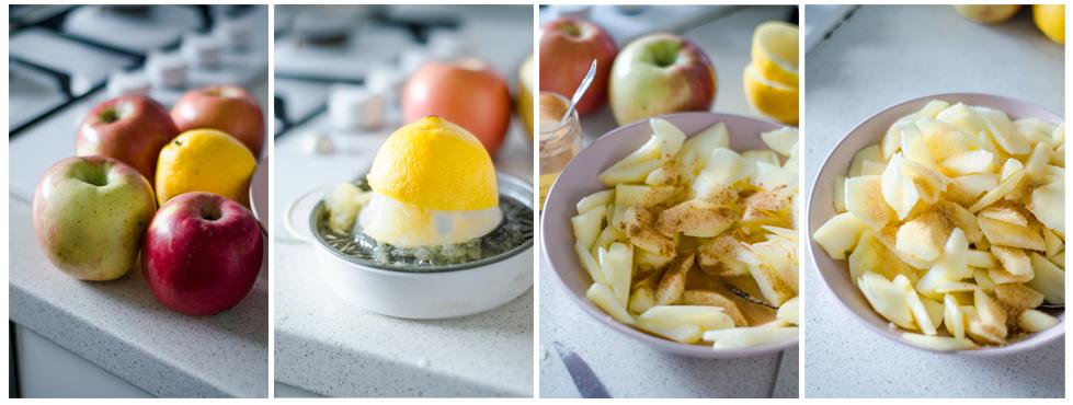 Maceramos las manzanas que servirán de relleno para nuestro Crumble de manzana sin mantequilla.