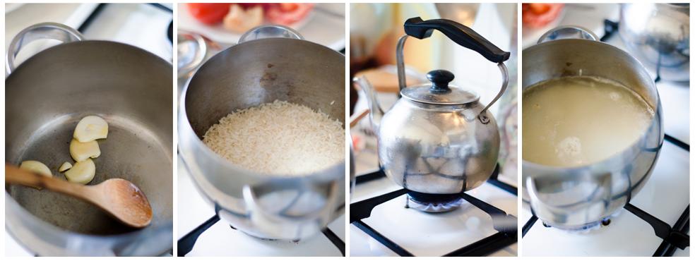 Para el primer tupper vegano, cocemos el arroz con dos ajos.