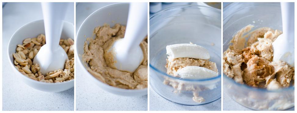 Trituramos los cacahuetes para conseguir la mantequilla de cacahuete.Luego, mezclamos con banana y canela.