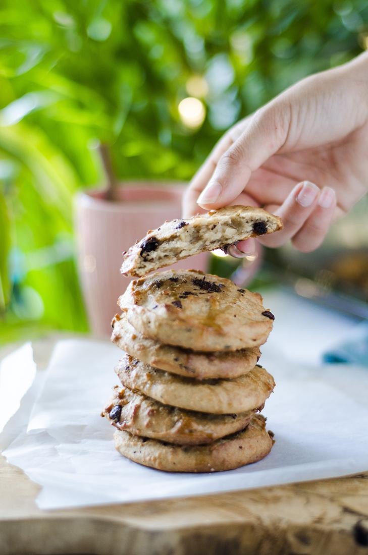 Resultado final: galletas de mantequilla de cacahuete veganas.