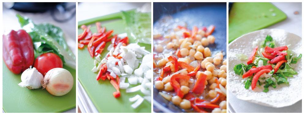 Salteamos los vegetales y los garbanzos para rellenar los burritos vegetarianos.