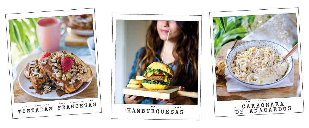 Recetas de mi libro VIVE VEGANO: hamburguesas vegetales, tostadas francesas, pasta con carbonara de anacardos...