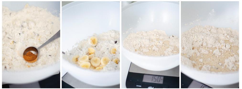 Añadimos la canela en polvo, la banana troceada y los líquidos: leche vegetal y margarina (o en su defecto el aceite de girasol)