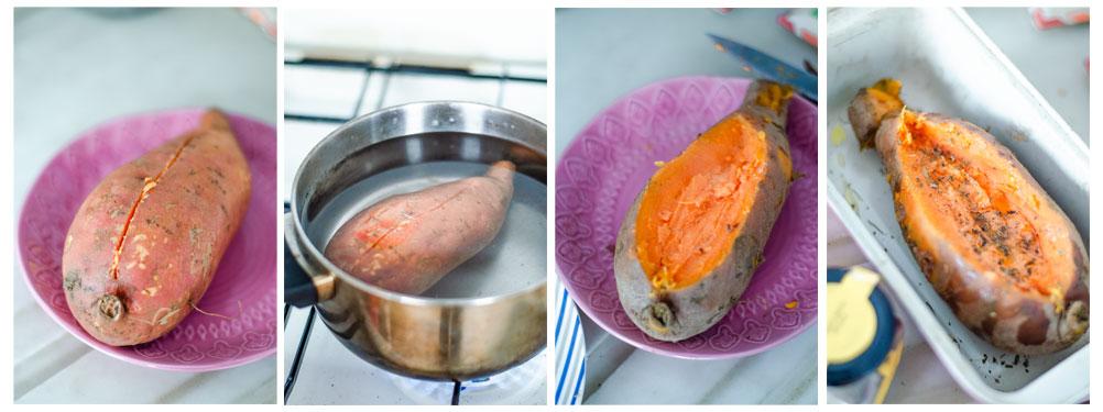 Cocemos el boniato hasta que esté ligeramente tierno.