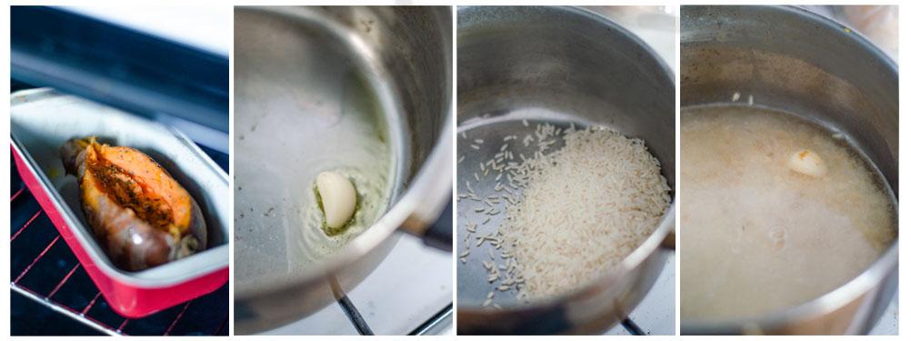 Salteamos un ajo y añadimos el arroz. Después, añadimos el agua caliente y d