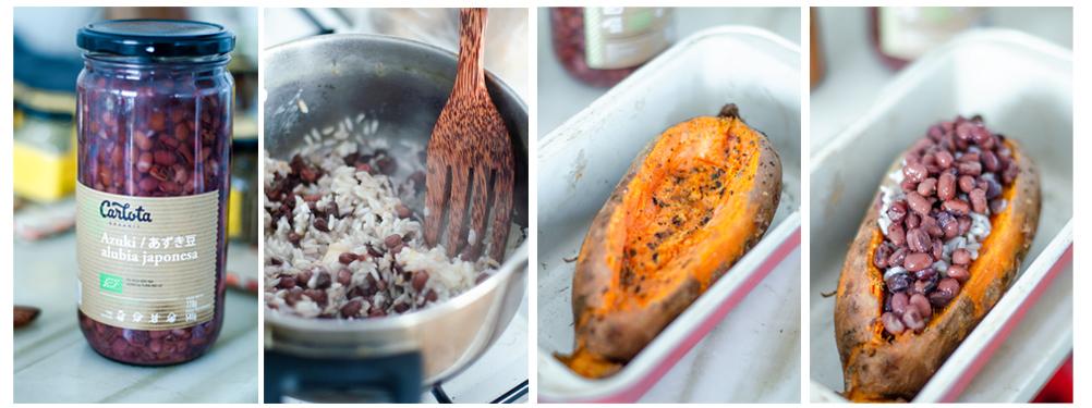 Preparamos el arroz y lo mezclamos con las alubias azukis. Rellenamos el boniato.