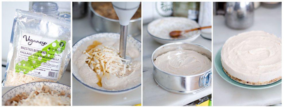 Trituramos el queso vegano con los anacardos y los saborizantes y montamos la tarta.