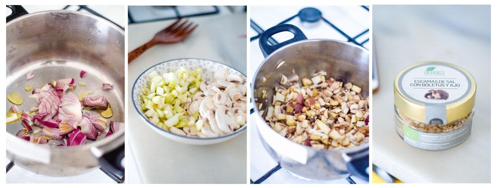 Cortamos los champiñones, la cebolla y la berenjena y los salteamos.